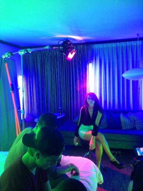 verb hotel shoot showing overhead light rig