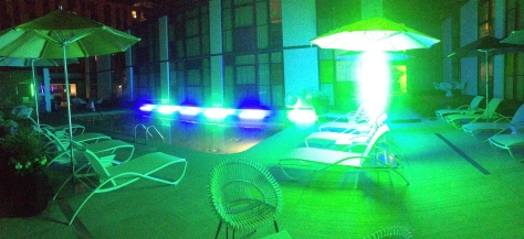 pano of kino bulbs around pool