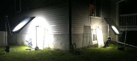 Lights outside windows.
